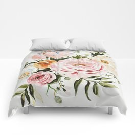 Loose Peonies & Poppies Floral Bouquet Comforters