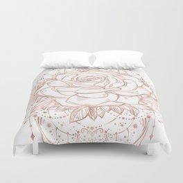 Mandala Lunar Rose Gold Duvet Cover