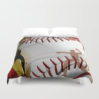 baseball Duvet Covers featuring Baseball by Robin Curtiss