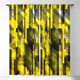 abstract composition in yellow and grays Blackout Curtain