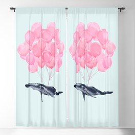 Flying Whale with Pink balloons #1 Blackout Curtain