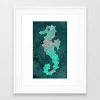 seahorse Framed Art Prints featuring SEAHORSE by Catspaws