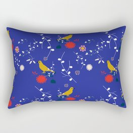 Bird and blossom electric blue Rectangular Pillow