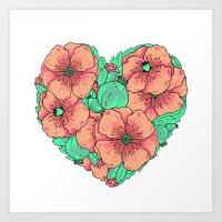 Pink poppy flowers heart Art Print