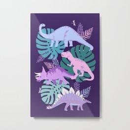 Jungle Dinosaur - Purple Metal Print