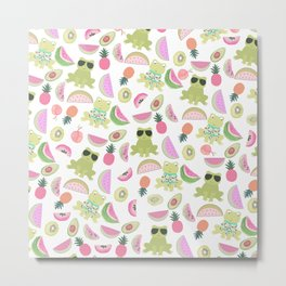 Cool green funny frog pink tropical watercolor fruit pattern Metal Print