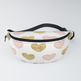 Modern elegant faux gold foil valentine pink hearts Fanny Pack