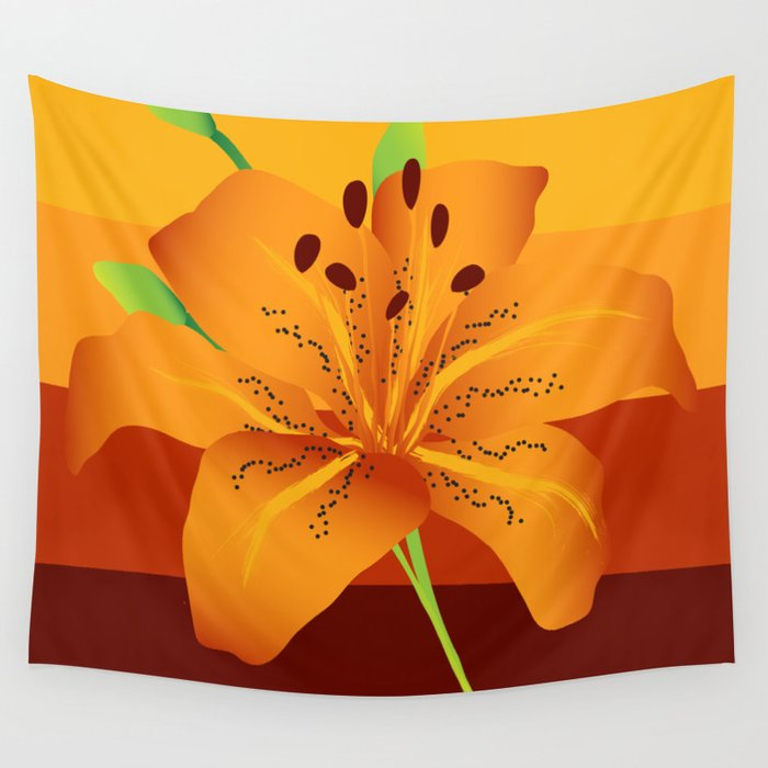 Orange Tiger Lily Wall Tapestry by ramonmartinezjr