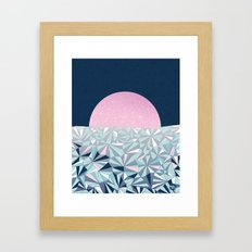 Geometric Sunset - Navy Blue and Pink Framed Art Print