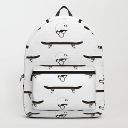 Skateboard and Helmet Pattern Backpack