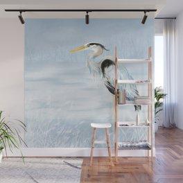 Watercolor Great Blue Heron Bird Wall Mural