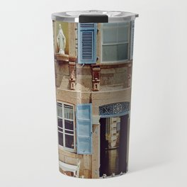 Blue Shutters in the Sun Travel Mug