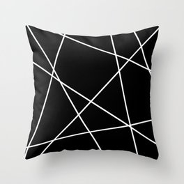 Lines in Chaos I - Black Throw Pillow