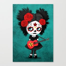 Day of the Dead Girl Playing Vietnamese Flag Guitar Canvas Print