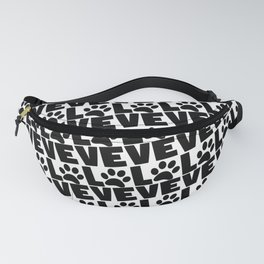 Dog Love - Black Dogs Paw on White Fanny Pack