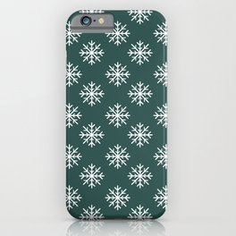 Snowflakes (White & Dark Green Pattern) iPhone Case
