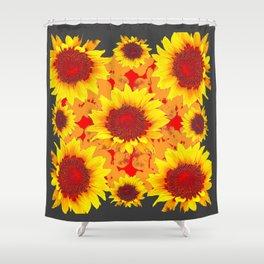 Decorative Golden Yellow Red Sunflowers Grey Patterns Shower Curtain