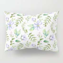 Watercolor lavender lilac green hand painted floral Pillow Sham