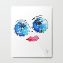 Fun Sunglass Lips PoP Art Design Summer Collection 2015 Aroon Melane Metal Print