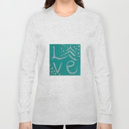 Teal,White and Silver Christms Tree Love Long Sleeve T-shirt