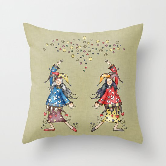 Lady Jokers Throw Pillow
