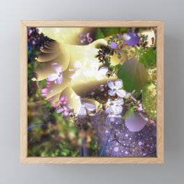 Floral fractals mixed reality Framed Mini Art Print