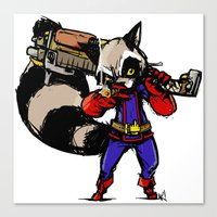 rocket raccoon Canvas Prints featuring Rocket Raccoon by Action Kazimer