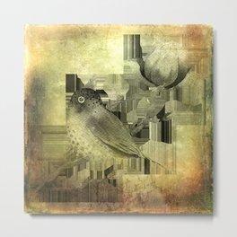 bird and flower -grungy Metal Print