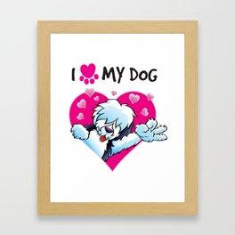 I Love My Dog Framed Art Print