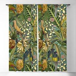 Vintage & Shabby Chic - Green Tropical Bird Flower Garden Blackout Curtain