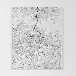 Sydney Map White Throw Blanket