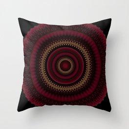 Deep Red Gold Mandala Throw Pillow