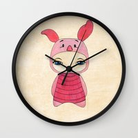tigger Wall Clocks featuring A Boy - Piglet (porcinet) by Christophe Chiozzi