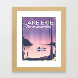Lake erie fishing travel poster Framed Art Print