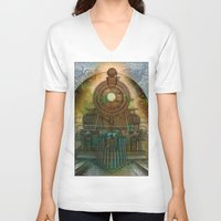 train V-neck T-shirts featuring Train by evisionarts