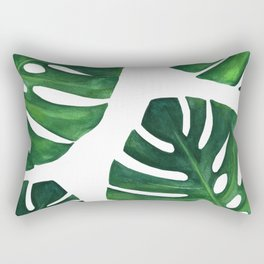 Watercolor Monstera print Rectangular Pillow