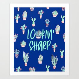 Lookin' sharp Cactus pattern - blue Art Print