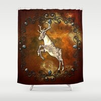 reindeer Shower Curtains featuring Reindeer by nicky2342