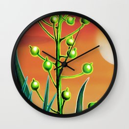 Wild plant at sunset Wall Clock