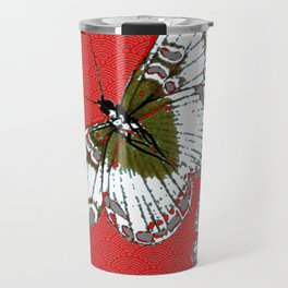 DECORATIVE WHITE & RED PATTERN BUTTERFLIES FROM   SOCIETY6 BY SHARLESART. Travel Mug