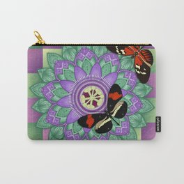 Passion Flower Mandala with Butterflies Carry-All Pouch