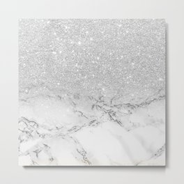Modern faux grey silver glitter ombre white marble Metal Print