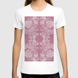 Fungi design by Chrissy Wild on dustry rose T-shirt