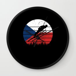 Ski Jumper Czech Republic Winter Sports Flag Nation Wall Clock