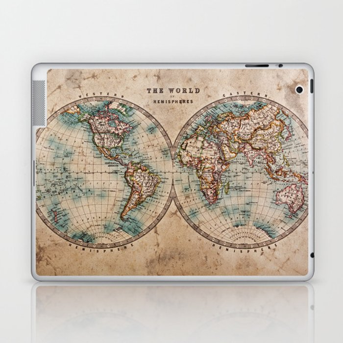 Vintage Map of the World 1800 Laptop & iPad Skin by foxxmap