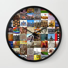 Everything Amsterdam - collage of typical images of the city and history Wall Clock