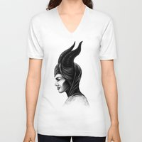maleficent V-neck T-shirts featuring Maleficent  by Denda Reloaded