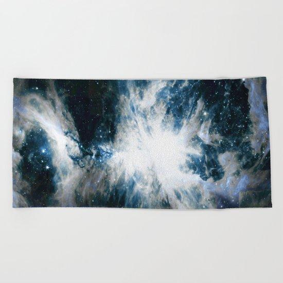 Orion Nebula Blue & Gray Beach Towel
