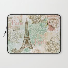 I love Paris - Vintage Shabby Chic - Eiffeltower France Flowers Floral  Laptop Sleeve