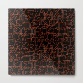 Greek Alphabet Capital Letters Black Red Metal Print